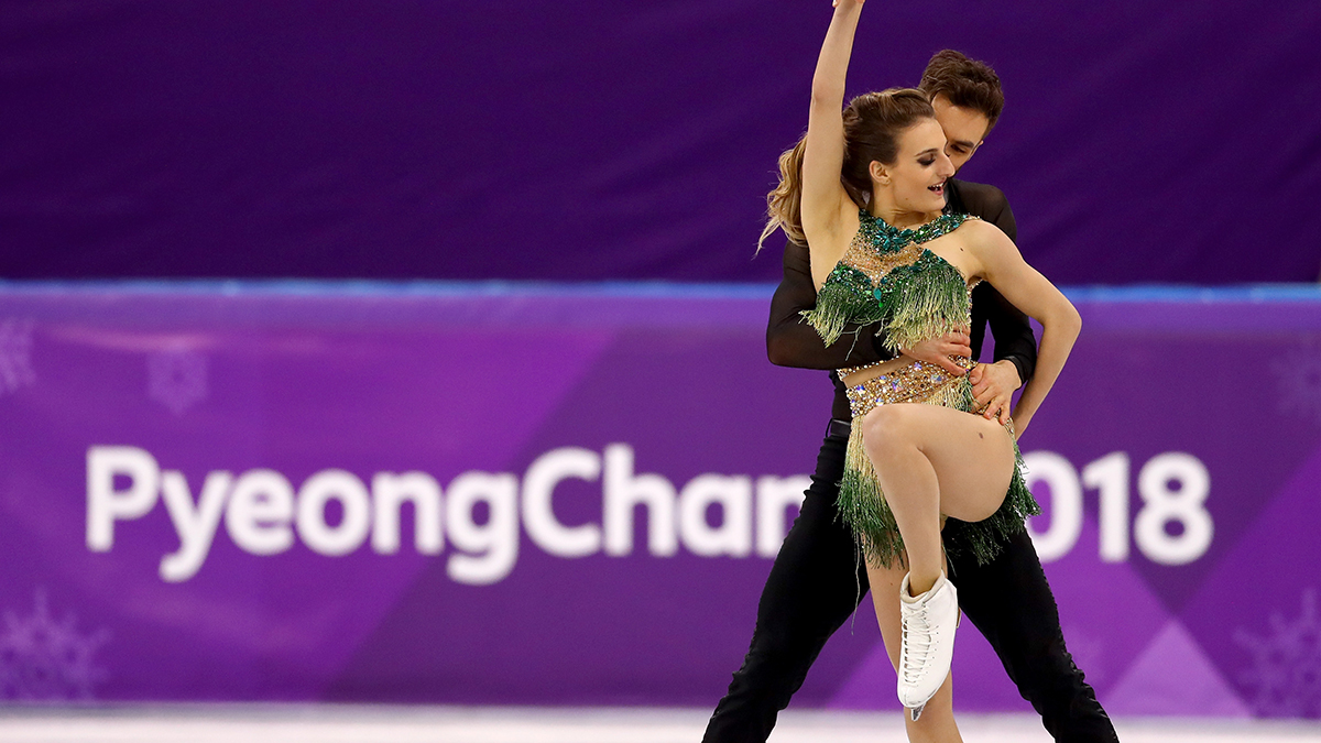 Gabriella Papadakis and Guillaume Cizeron of France compete during the Figure Skating Ice Dance Short Dance on day 10 of the 2018 Winter Olympic Games at Gangneung Ice Arena on Feb. 19, 2018, in Pyeongchang-gun, South Korea. The pair placed second for the night despite Papadakis' ward robe malfunction that almost undid their program.
