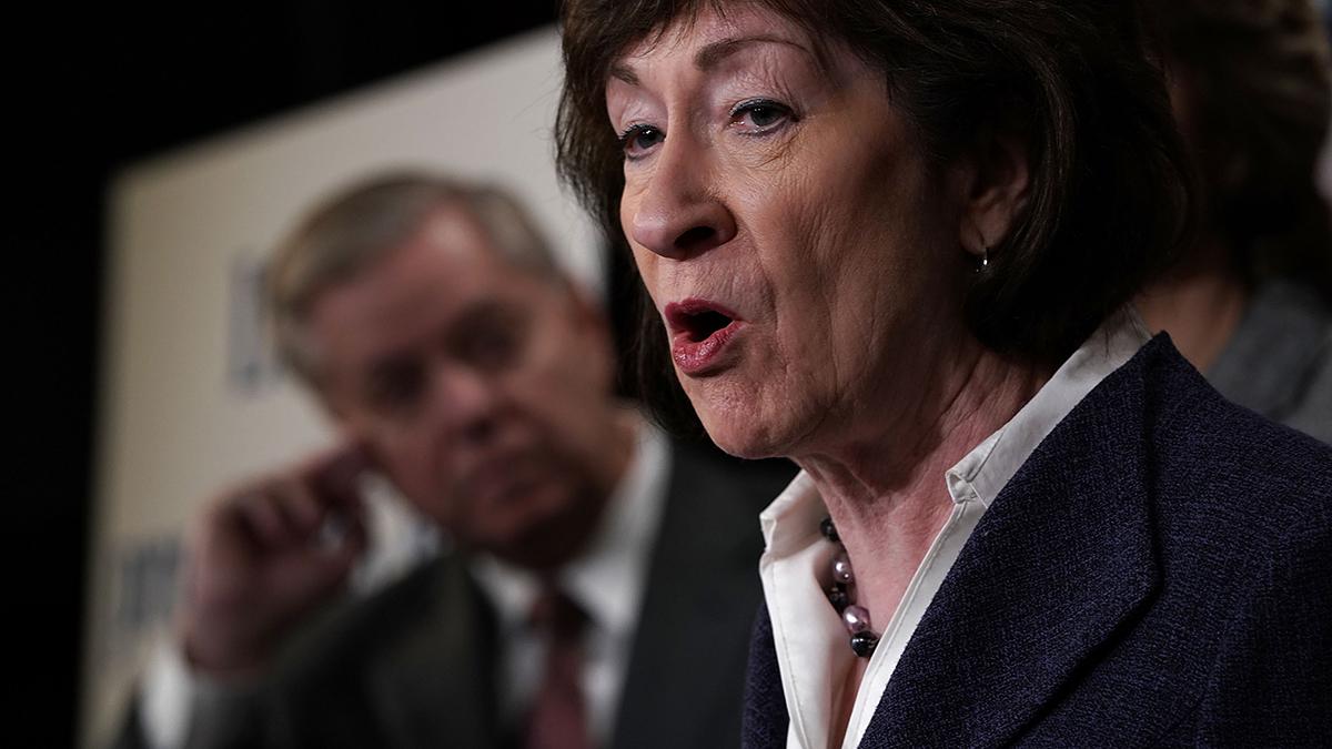 This March 21, 2018, file photo shows Sen. Susan Collins in Washington, DC.