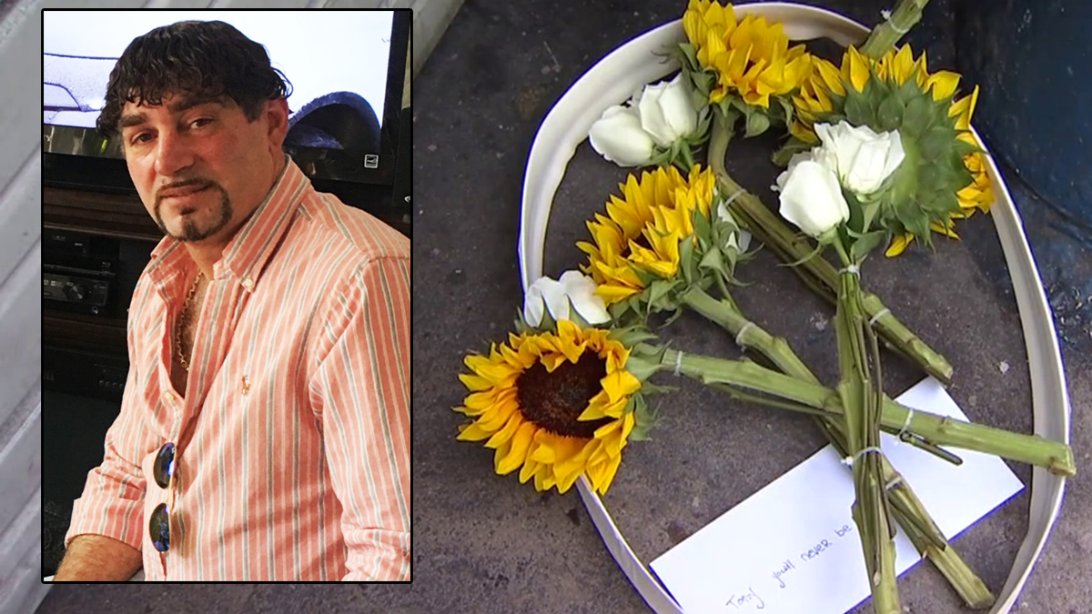 Ghedeer Tony Radda (L) was found dead inside his flooring business. Flowers and a note were left outside of the business honoring the owner.