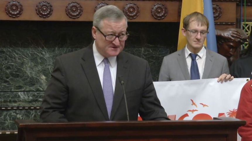 Mayor Jim Kenney at a press conference, Wednesday, Nov. 22, 2017, ripping President Trump on the White House's immigration policies.