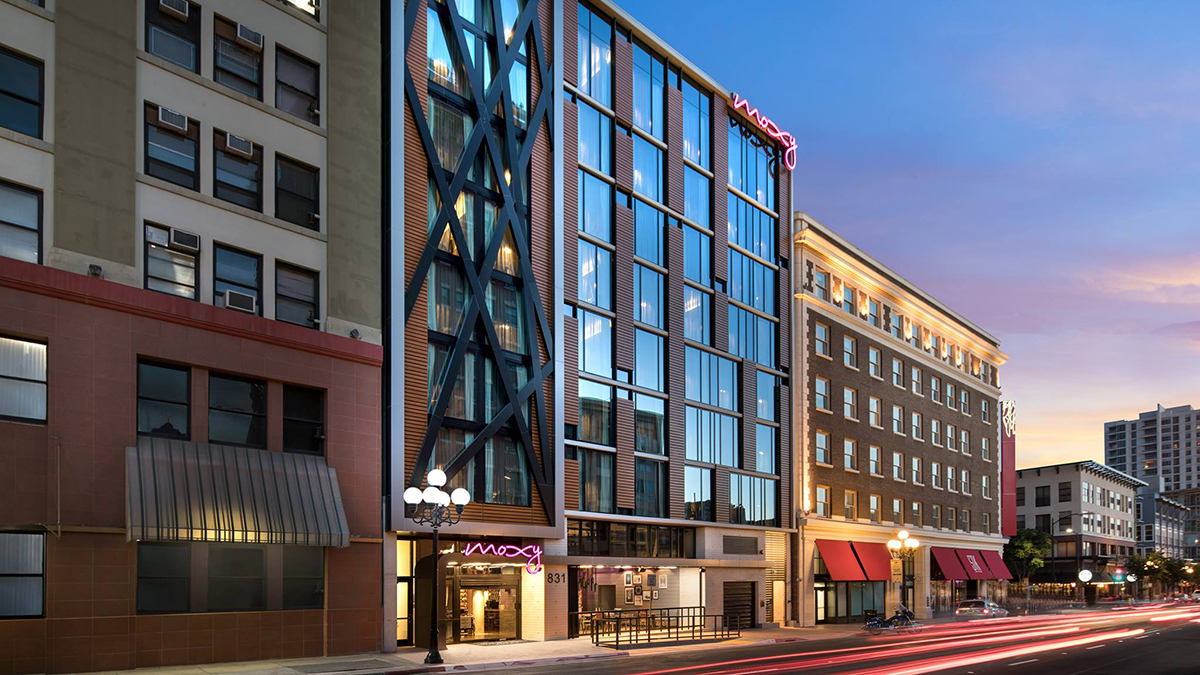 The Moxy Hotel opened in downtown San Diego in November 2018. Rendering courtesy of The Moxy Hotel.