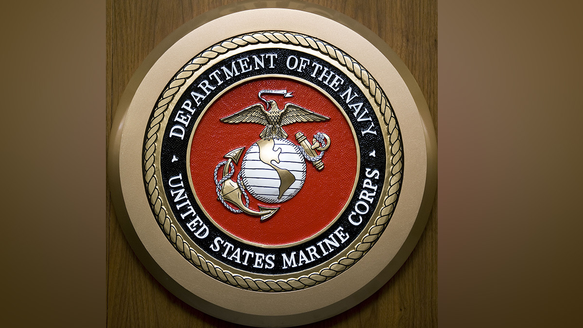 The US Department of the Navy, US Marine Corps, seal hangs on the wall Feb. 24, 2009, at the Pentagon in Washington, DC.