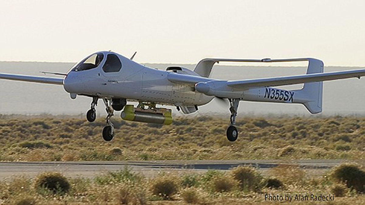 Northrop Grumman Corp.'s Firebird aircraft — which can fly with or without a pilot onboard — takes to the air.