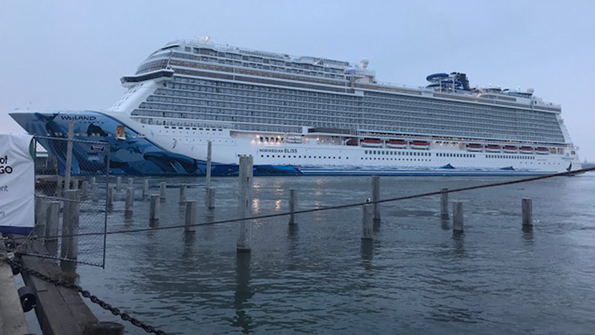 The Norwegian Bliss arrives in San Diego on Wednesday, Oct. 24, 2018.