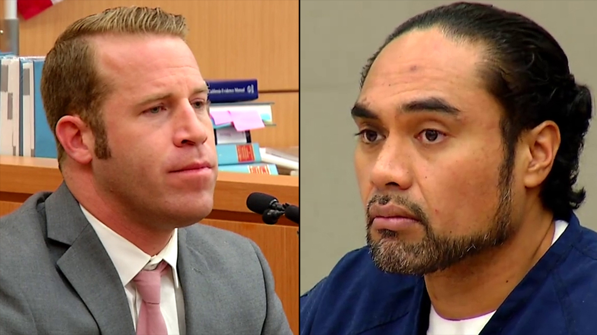 Deputy Jason Philpot (L) testifies in the case against RayPitoau.