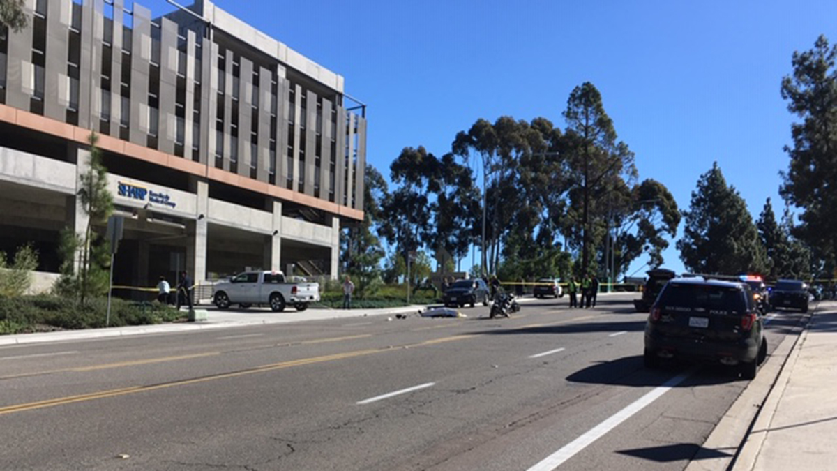 A motorcyclist was killed in a crash on West Bernardo Drive Friday morning.