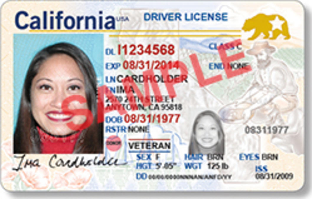 Sample image of the Real ID card. According to the California DMV, federal law requires REAL ID cards to have distinct designs, colors and/or marking(s). Individuals who are eligible and apply for a REAL ID card will receive a card with a marking in the upper right corner with the California grizzly bear and a star.