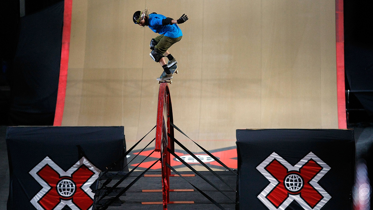 Rob Lorifice competes in the Skateboard Big Air Rail Jam Final during X Games 15 at Staples Center on July 31, 2009, in Los Angeles, California.