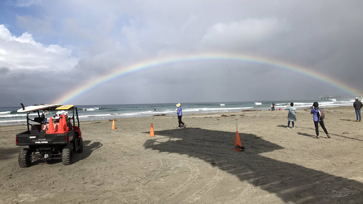 San Diego Lifeguards Lt. R. Stropky captured this beautiful photo of a rainbow over La Jolla Shores following the storm Saturday morning.
