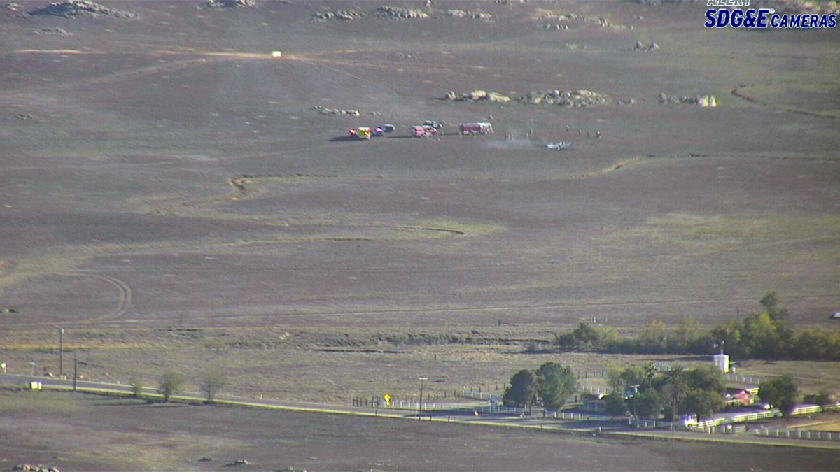 A view of the small plane crash near Ramona Airport captured by the Alert SDG&E Cameras.