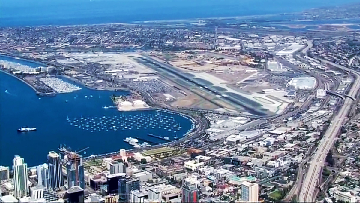 San Diego skyline from the south showing the harbor and San Diego International Airport otherwise known as Lindbergh Field.