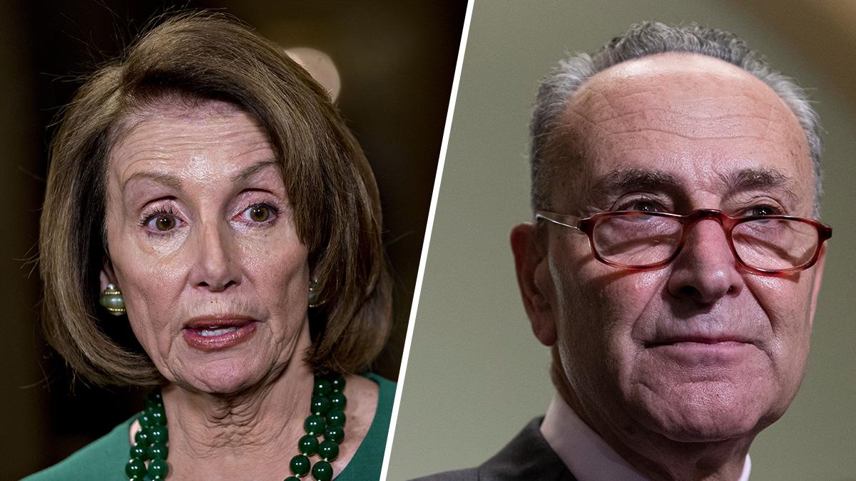 Left: House Speaker Nancy Pelosi on Dec. 20, 2018, in Washington, D.C. Right: Senate Minority Leader Chuck Schumer on Oct. 4, 2018, in Washington, D.C.