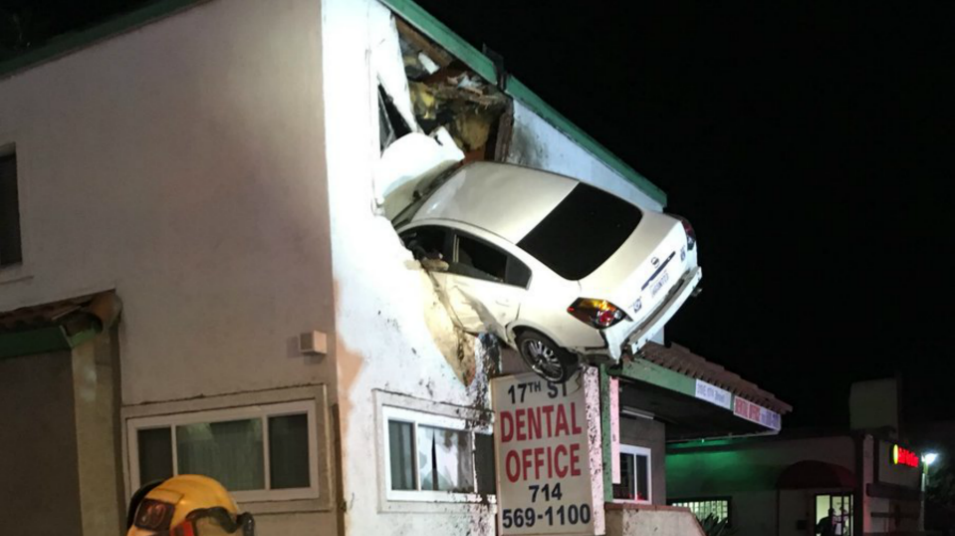 A vehicle managed to crash into the second floor of an office building in Santa Ana. (Jan. 14, 2018)