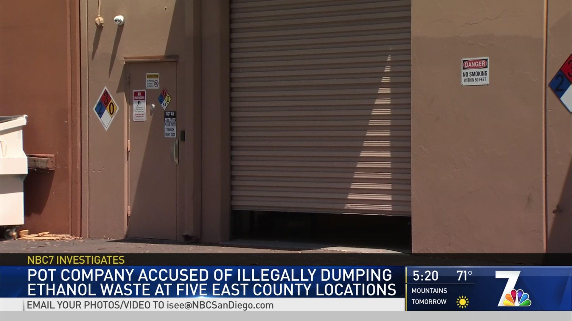 Marijuana Company Accused of Illegally Dumping Hazardous Waste