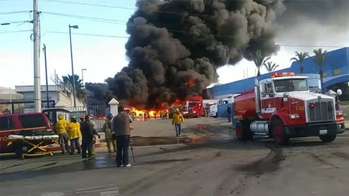 The Tijuana Fire Department shared this photo of the factory fire on Thursday.