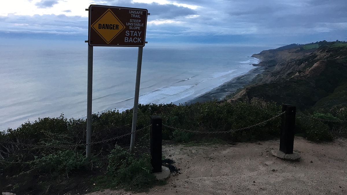 Two hikers were rescued on Jan. 12, 2019, on a slick trail about 200 feet down the cliffs at Torrey Pines State Reserve. A storm made the path far too slippery and the pair couldn't get out on their own.