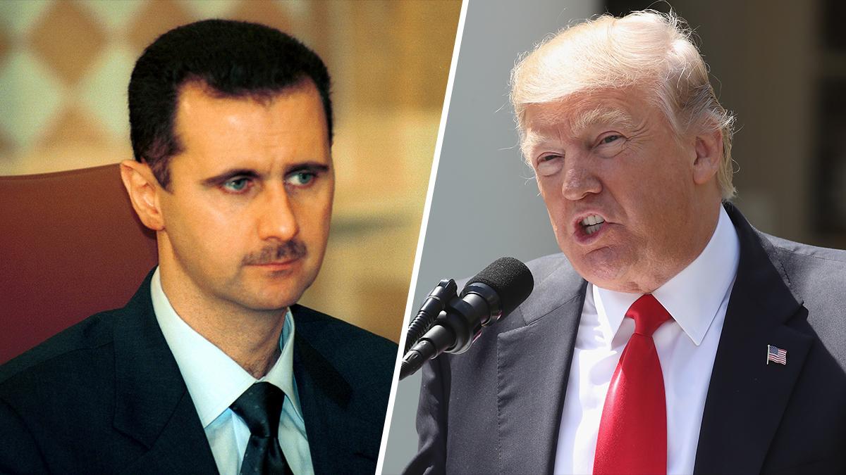 Syrian President Bashar Al Assad and President Donald Trump