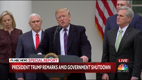 Pres. Trump speaking at a press conference.