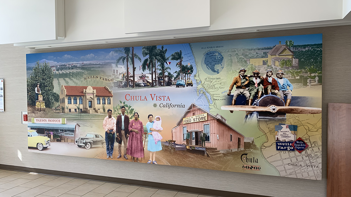 The mural at the Chula Vista Wells Fargo branch on H Street features some of the city's earliest residents, including the grandparents of Mayor Mary Casillas Salas.
