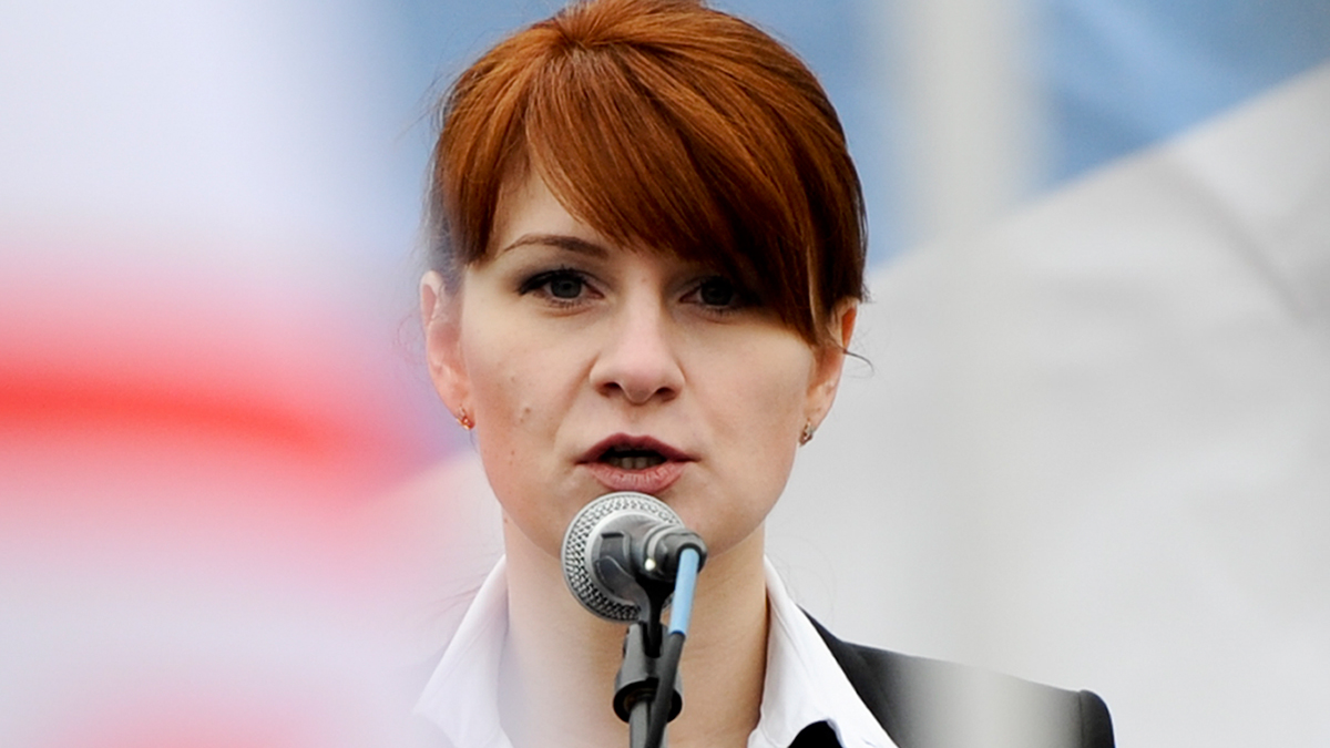 FILE - In this Sunday, April 21, 2013, file photo, Maria Butina, leader of a pro-gun organization in Russia, speaks to a crowd during a rally in support of legalizing the possession of handguns in Moscow, Russia.