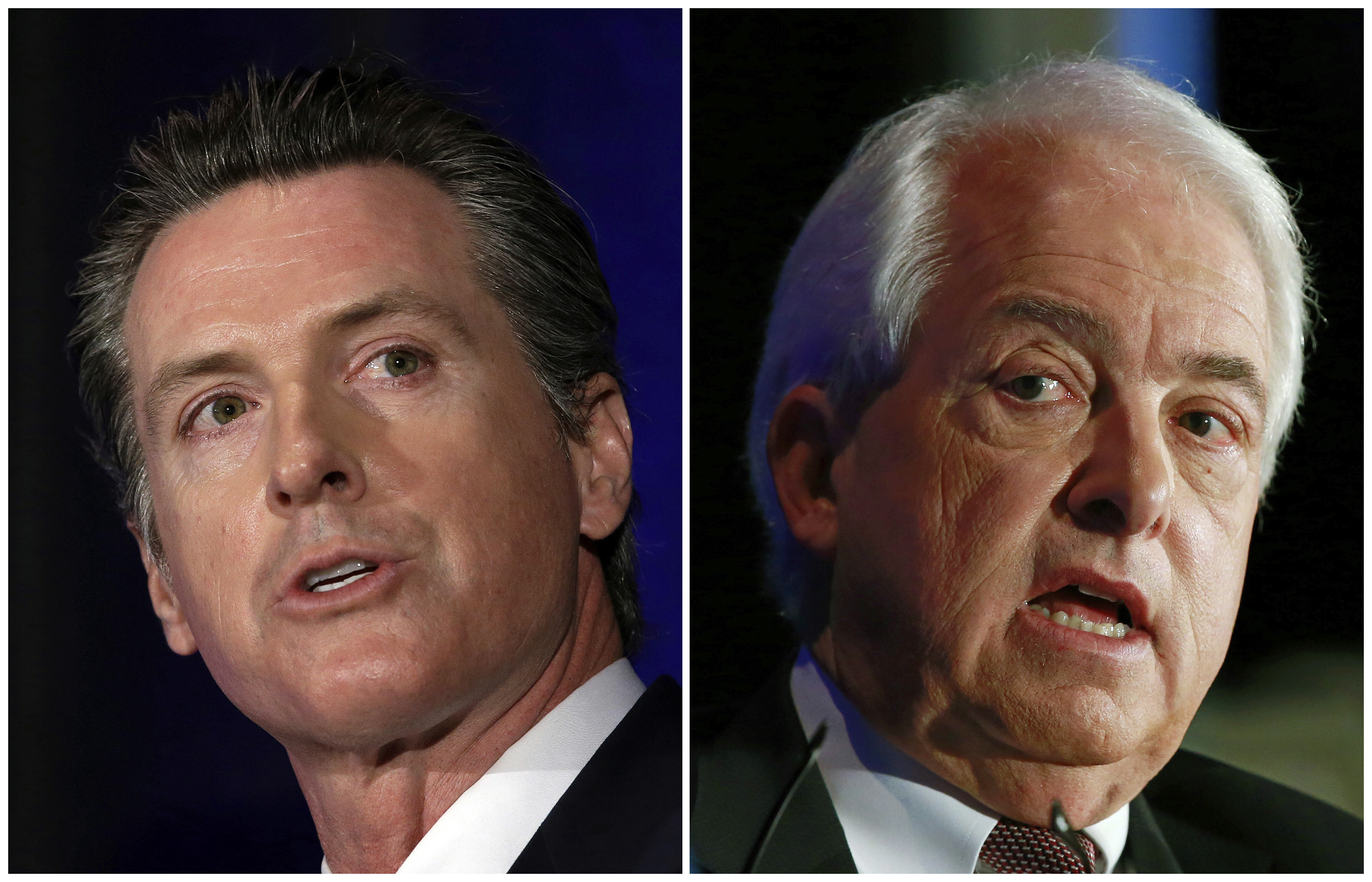 This combination of March 8, 2018 photos shows Lt. Gov. Gavin Newsom, left, and John Cox in Sacramento, Calif. California's race for governor pits Newsom, a Democrat and former San Francisco mayor, against Republican businessman John Cox. (AP Photos/Rich Pedroncelli, File)