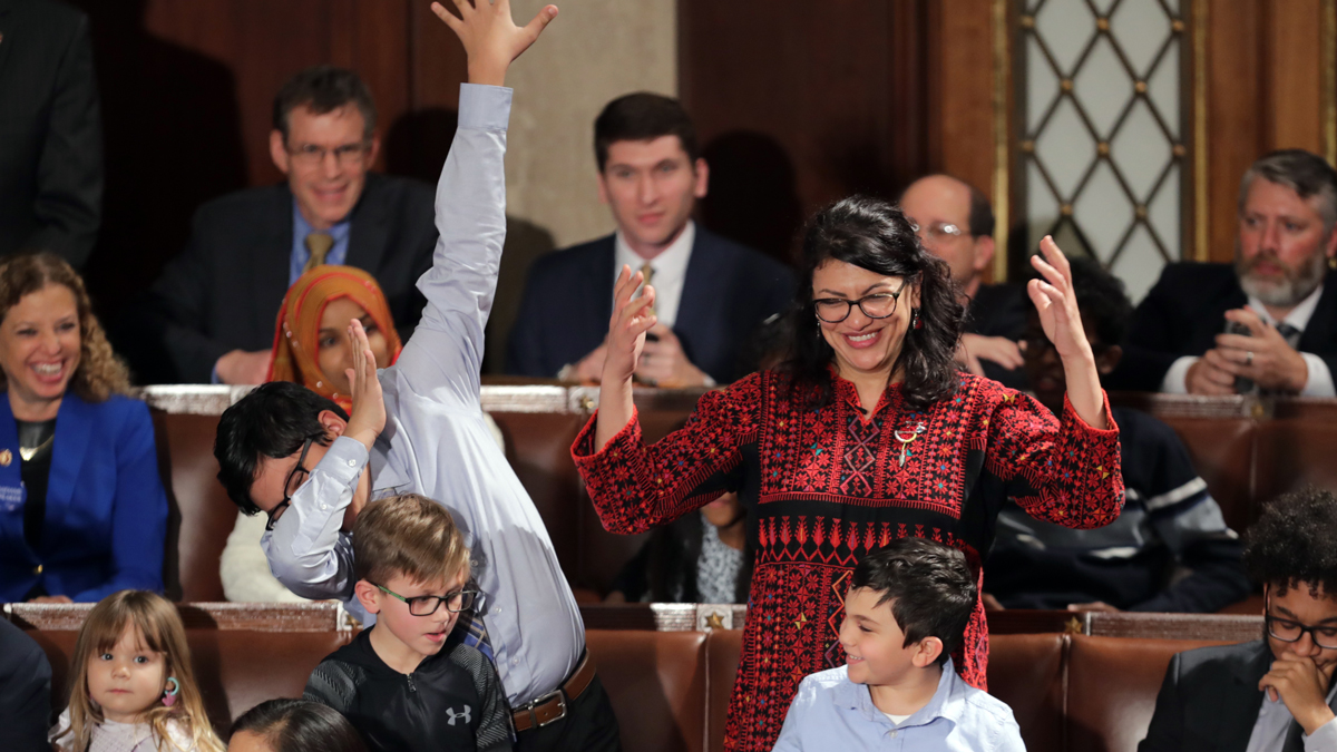 Rep. Rashida Tlaib (D-Mich.) votes for Speaker-designate Rep. Nancy Pelosi (D-Calif.) along with her kids during the first session of the 116th Congress at the U.S. Capitol Jan. 3, 2019, in Washington, DC.