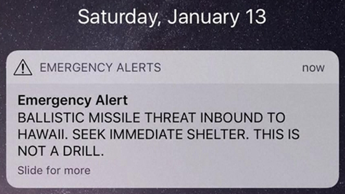 This Jan. 13, 2018, file photo shows a screenshot of the false emergency alert sent to people in Hawaii.