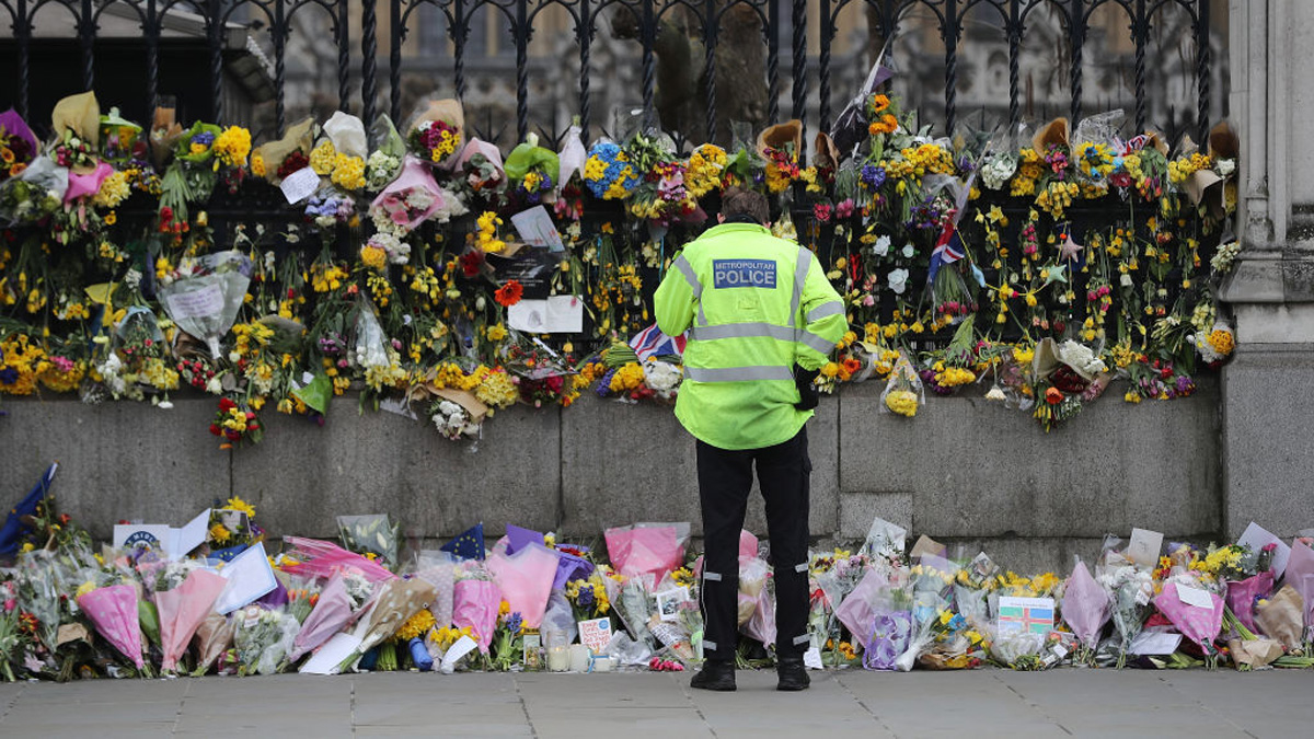 Flowers are left outside the Houses of Parliament in memory of those who died in last weeks Westminster terror attack on March 27, 2017, in London, England. Five people including the assailant were killed and around 40 people injured following last week's attack outside the Houses of Parliament in Westminster.
