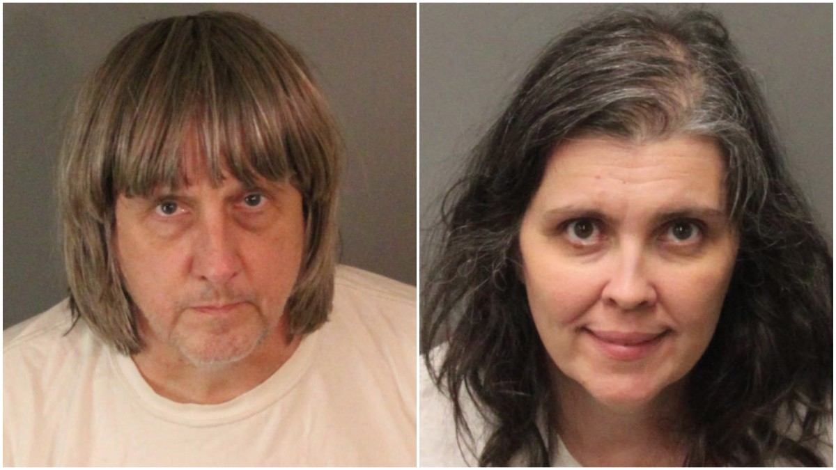Mugshots of David Allen Turpin, 57, and Louise Anna Turpin, 49, who have been booked on charges of torture and child endangerment after it was discovered they had been holding their children captive.