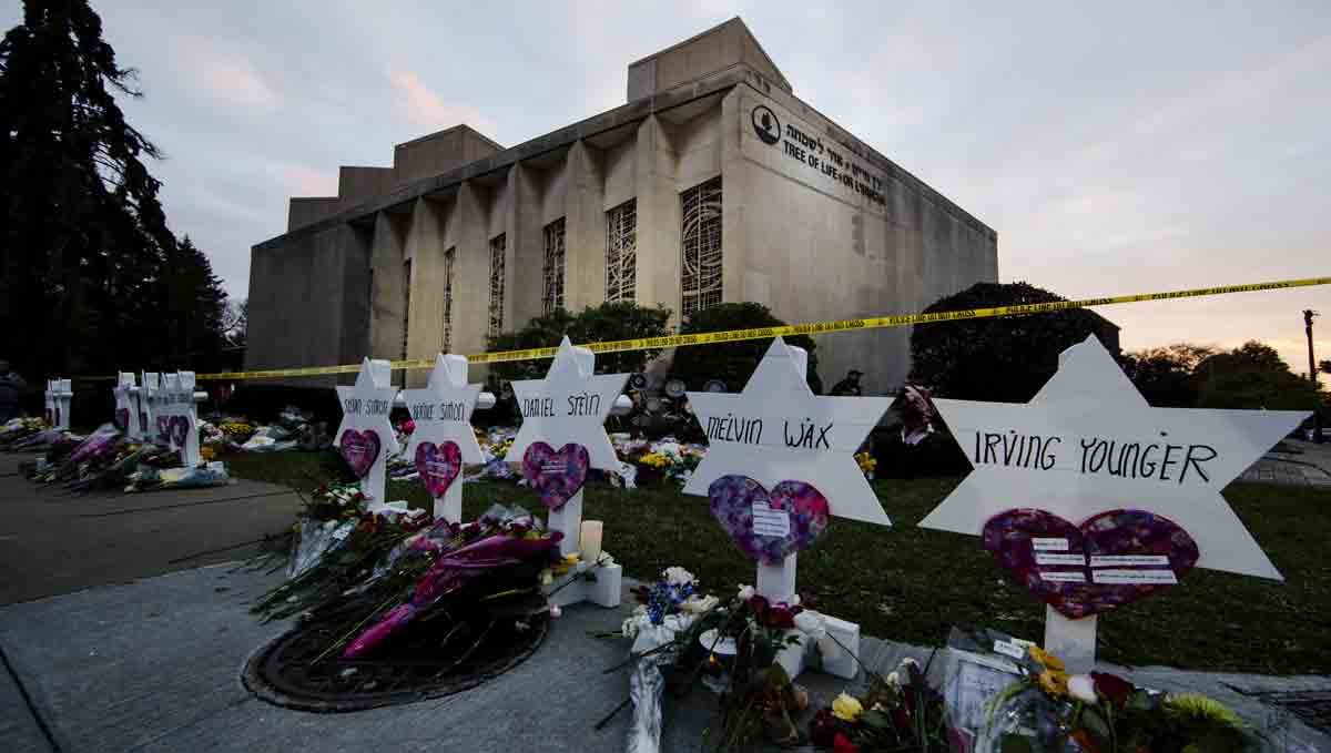 A makeshift memorial stands outside the Tree of Life Synagogue in the aftermath of a deadly shooting.