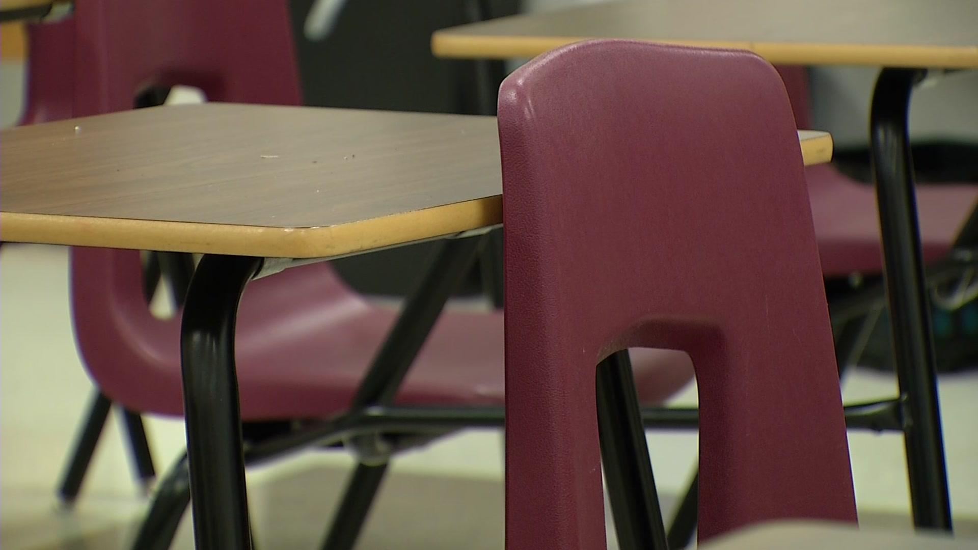 Empty desk in a classroom (file photo).