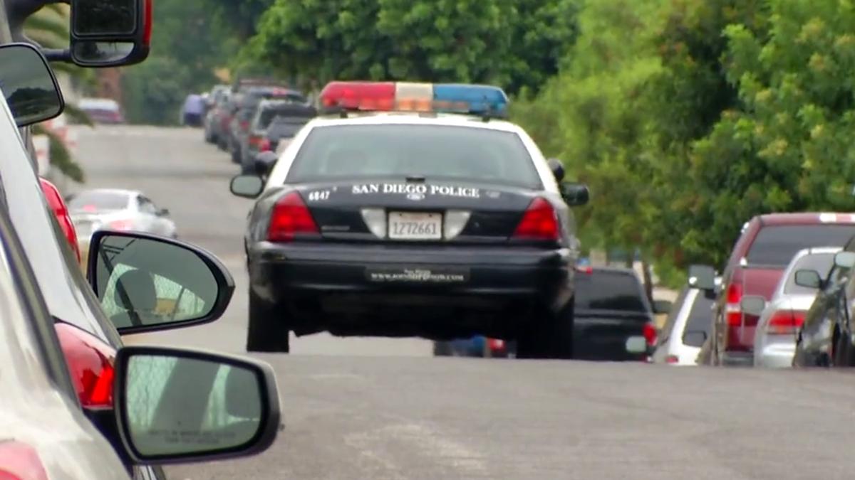 Patrol car in Logan Heights neighborhood of San Diego on July 25, 2017