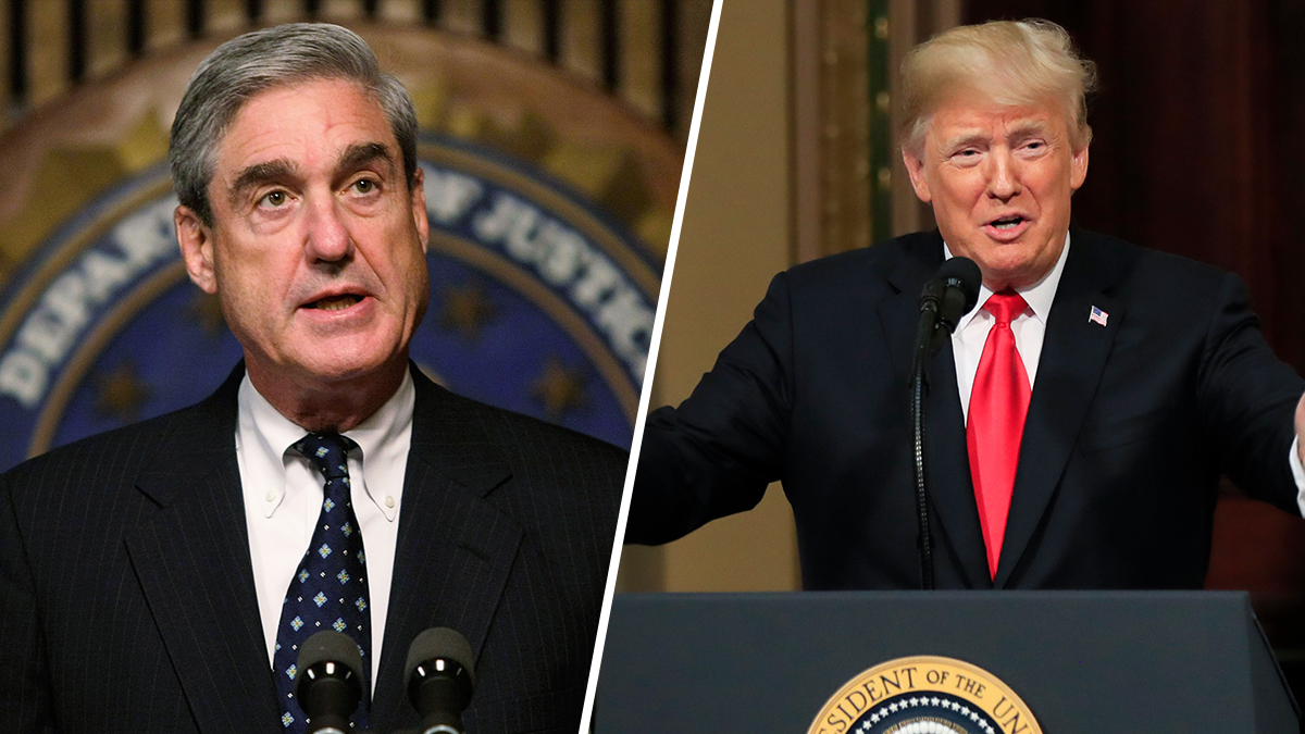 Robert Mueller (L) and President Donald Trump