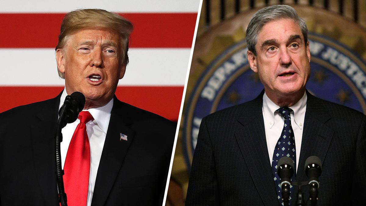 President Donald Trump (L) and Robert Mueller (R)