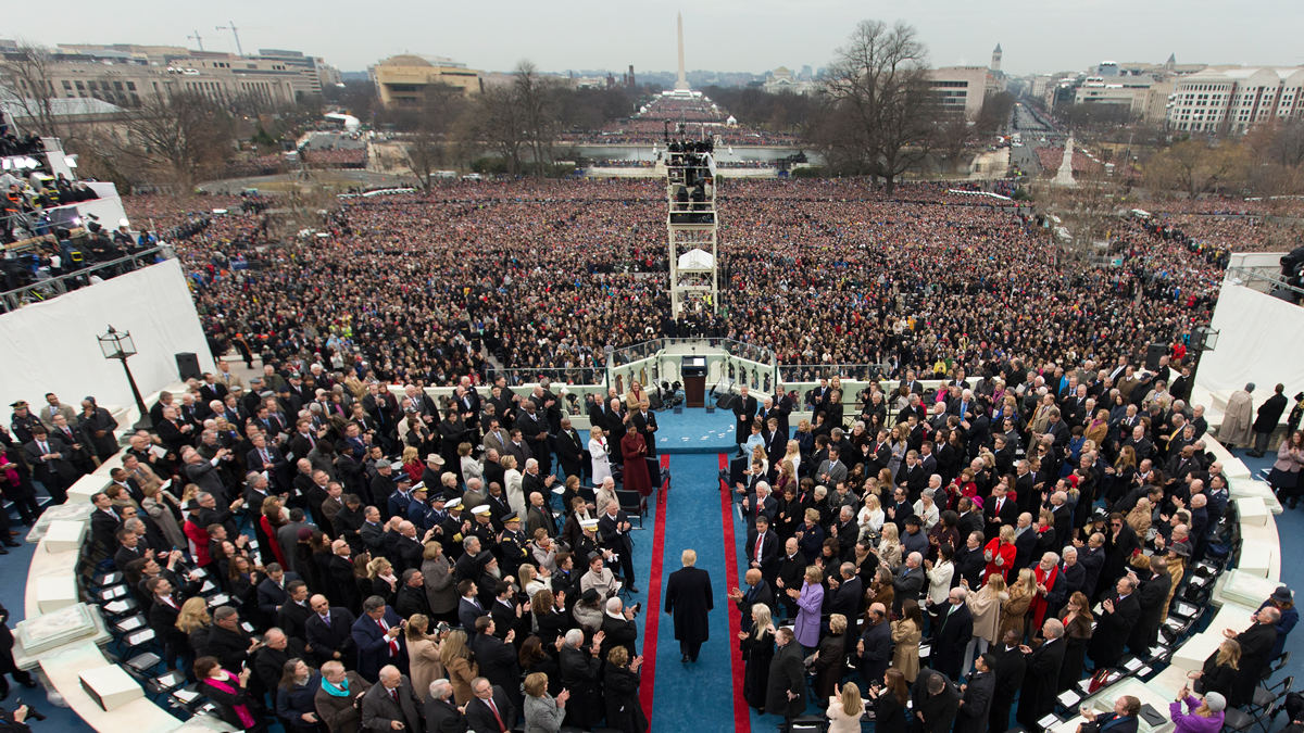 In this Jan. 20, 2017 file photo, President-elect Donald Trump arrives during the 58th Presidential Inauguration at the U.S. Capitol in Washington.
